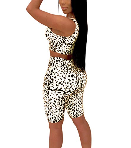 Ophestin Womens Leopard Print 2 Piece Outfits Tight Crop Tank Top Shorts Pants Set White Size M