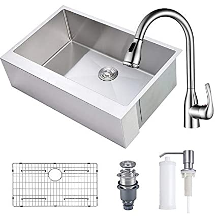 Mowa 33 Kitchen Sink And Faucet Combo 16 Gauge Stainless Steel Single Bowl Farmhouse Apron Sink W One Handle High Arc Pulldown Kitchen Faucet