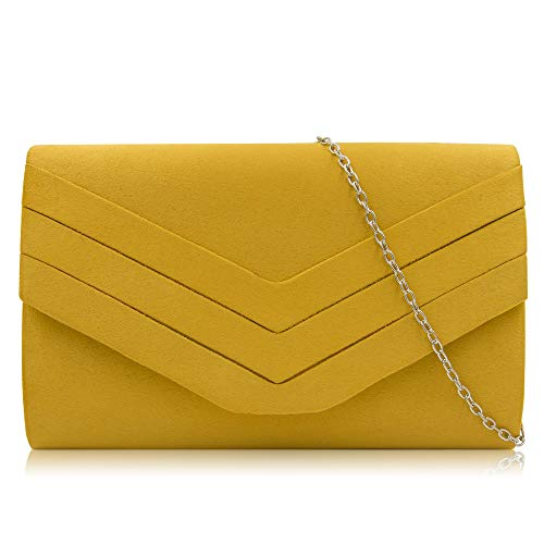 Clutches Envelope Yellow Evening Milisente Classic Clutch Purse Bag Women Velvet Banana A5qx5tS1w