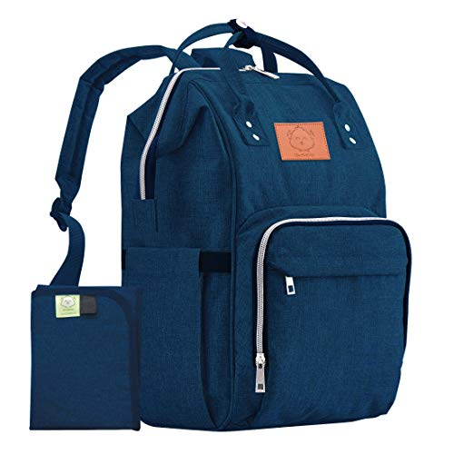 KeaBabies Diaper Bag Backpack - Multi-Function Waterproof Travel Baby Bags for Mom, Dad, Men, Women - Large Maternity Nappy Bags for Girls & Boys - Durable, Stylish - Diaper Mat Included (Navy Blue)