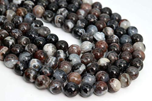 Jewelry Making Supplies 10MM Natural Black Zebra Agate Beads Grade AAA Round Gemstone Loose Beads 7.5