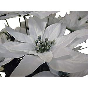 "WHITE Christmas Poinsettia Bush 24 Artificial Silk Flowers 24"" Bouquet 030WT 115"