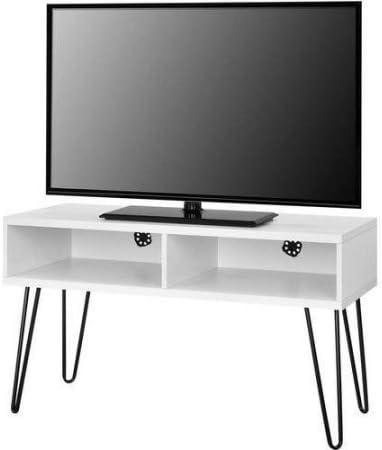 Mainstays Retro - Soporte de TV para televisores de hasta 42 pulgadas de ancho, color blanco: Amazon.es: Electrónica