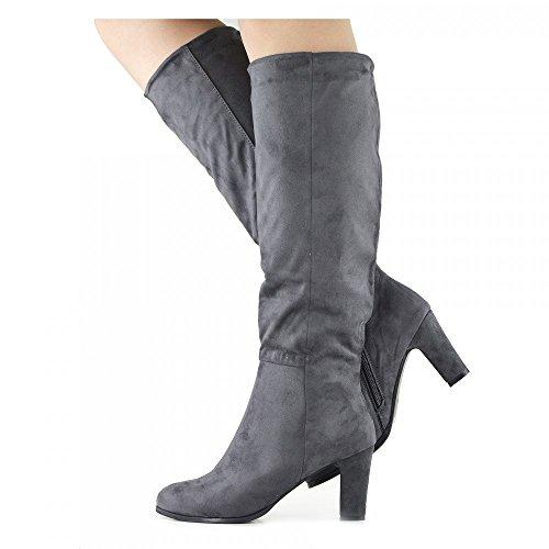 Kick Footwear - Damen Knie-Stiefel Block Heel Casual Suede Innenseite Reißverschluss Smart Fahrstil Stiefel Grau