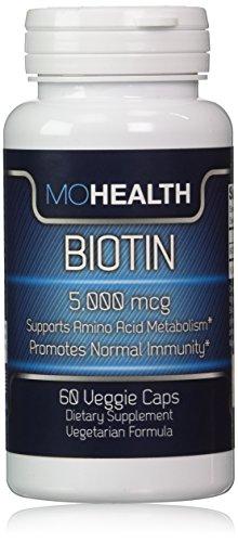 Biotin Veggie Caps ★Benefits Skin, Healthy Hair Growth and Strengthens Nails ★Vegan/Vegetarian Formula, High Potency 5,000 mcg ★ Money Back Guarantee by MOHealth
