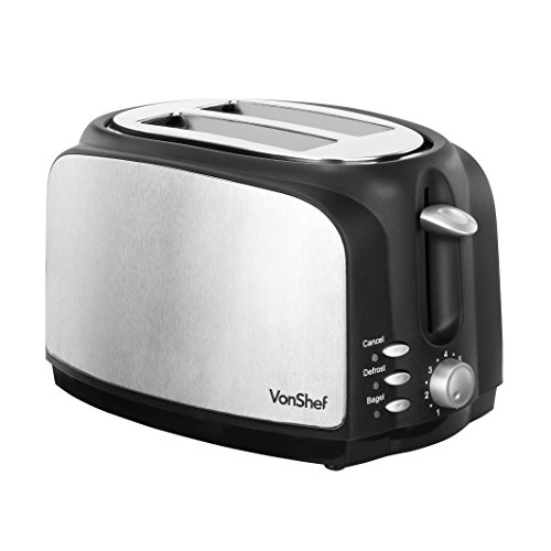 VonShef 700W 2-Slice Wide Slot Toaster with High Lift Lever & Slide-out Crumb Tray – Stainless Steel