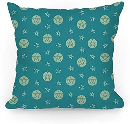 ACOVE Blue Wicca Pentacle Pattern Throw Pillow Covers Cushion Case 18x18 inch ()
