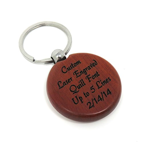 Custom Engraved Rosewood Circle Key Chain - Key Ring - Front & Back Engraved - Personalized