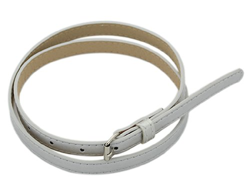 BONAMART Women Ladies PU Leather Skinny Slim Belt with Metal Buckle 100cm (Belt Skinny Silver)