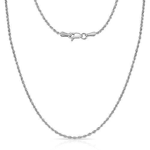 14 Inch 10k White Gold Thin Solid Diamond Cut Rope Chain Necklace, 1mm by Glad Gold