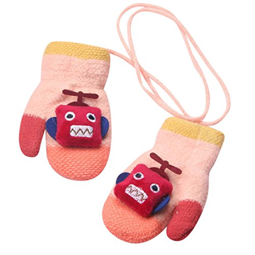 Staron Toddler Baby Gloves Mittens with String Cartoon Robot Winter Soft Warm Gloves (Pink)