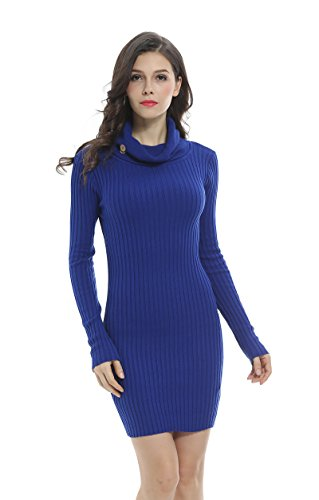 (Sofishie Casual Long Cowl Neck Buttons Sweater - Royal Blue - Large)