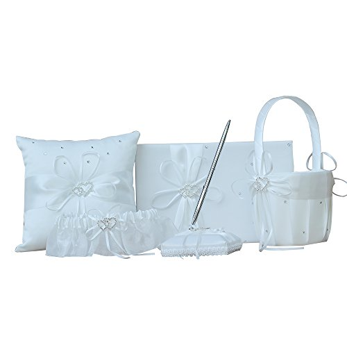 AmaJOY 5pcs Wedding Guest Book + Pen Set + Flower Basket + Ring Pillow + Garter, Ivory Cover, Double Heart Rhinestone Decor Ivory Ribbon Bowknot Elegant Wedding Ceremony Decor Party (Guest Book Pen Set Ring)