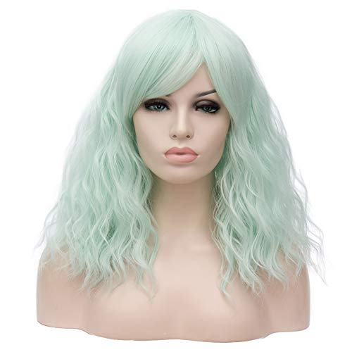"BERON 18"" Women Girls Lovely Middle Length Curly Wig with Bangs Synthetic Wavy Wigs for Daily Use Halloween Cosplay Party (Grey Green)"