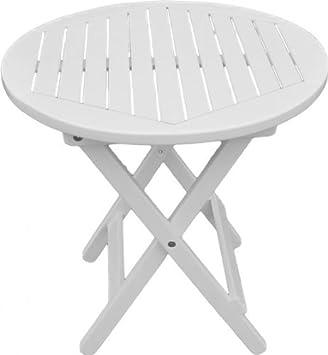 Table ronde de jardin blanc laqué en bois d\'eucalyptus certifié fSC ...