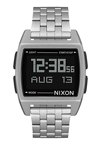 Nixon Base Black/Silver Men's Retro Style Smart Watch (38mm. Digital Face/Black & Silver Stainless Steel Band)