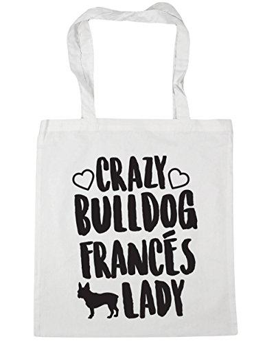 litros capacidad 38cm Con Playa Bulldog Lady para de 42cm Crazy x Asas 10 Bolso HippoWarehouse Blanco Francés Compra gimnasio Bolsa qpwZTUzxU