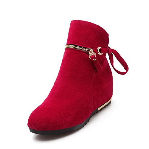 AllhqFashion Womens Imitated Suede Ankle-high Solid Zipper High-Heels Boots Red SQXvxgnYB