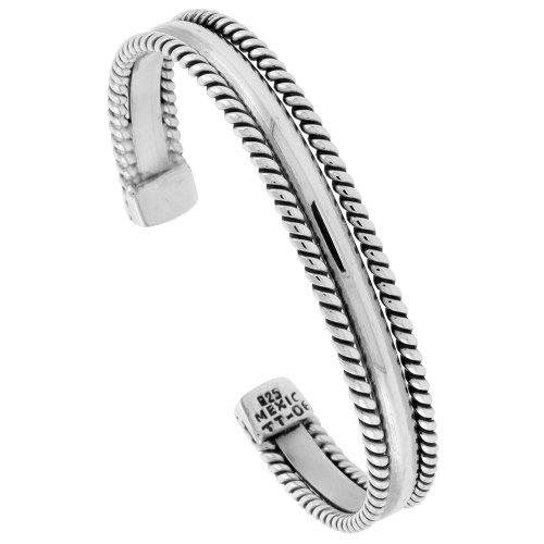 Sterling Silver Rope Edge Cuff Bracelet Domed Center Handmade 7.25 (Edge Cuff Bracelet)