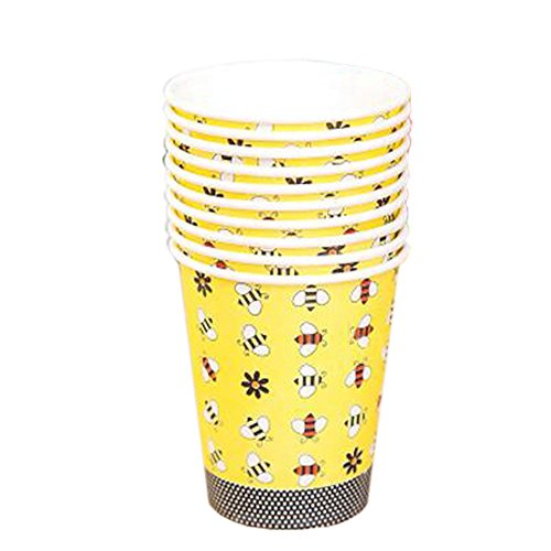 40 Counts Water Paper Cup Disposable Cup For Office/Home ,Bee Pattern