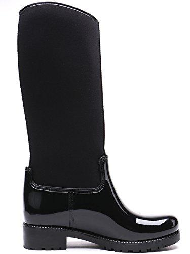 Pluie Femmes De Bottes Noir Bottes Imperméable Neige De Patchwork noir Tongpu W60qI6