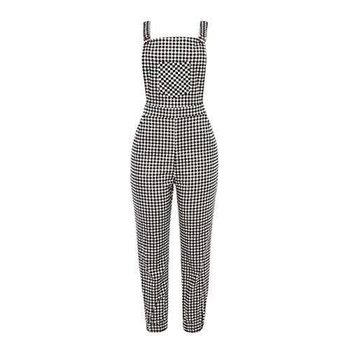 Corriee Womens Stylish Plaid Bib Pants Dungarees Overalls Baggy Jumpsuit Rompers Black ()