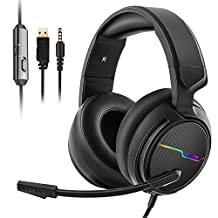 XIBERIA V20 Gaming Headset for PS4 PC Wii U Xbox One,Gaming Headphones with Noise Cancelling Microphones,Dazzle Colour LED Lights,Stereo Bass Surround Gaming Earphones for Laptop, Mac,PS3,Nintendo Switch, Mobile Phone,Tablet