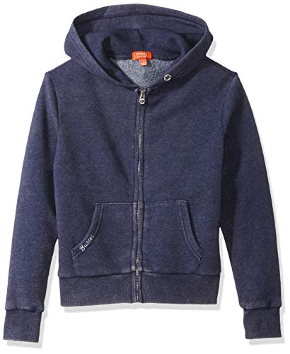 Butter Girls' Big Mineral Wash Fleece Zip Up Hoodie, Navy ()