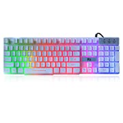 #LightningDeal Rii RK100+ White Gaming Keyboard,USB Wired Multiple Colors Rainbow LED Backlit Large Size Mechanical Feeling Ultra-Slim Multimedia Office Keyboard Non-Slip for Primer Gaming and Working,Office Device