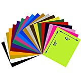 Heat Transfer Vinyl Assorted Colors Starter Pack- 20 Sheets - 12'' x 15'' HTV Bundle Iron on for DIY T Shirts, Hats, Clothing for Silhouette Cameo, Cricut, or Heat Press Machine Tool