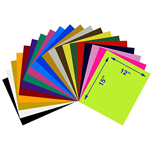 Heat Transfer Vinyl Assorted Colors Starter Pack- 20 Sheets - 12 x 15 HTV Bundle Iron on for DIY T Shirts, Hats, Clothing for Silhouette Cameo, Cricut, or Heat Press Machine Tool