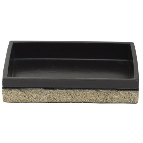 ZPC Zenith Products Corporation Zenna Home, India Ink Leland Soap Dish, Natural with Dark Bronze