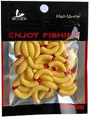 50pcs Maggots Fishing Lures Bread Grub Worm Baits, Artificial Soft Plastic Smell Lifelike Worm Baits for Lake