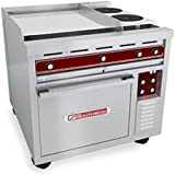 Southbend SE36D-TTH 36 Heavy Duty Electric Range w/ (1) 12 Hot Top, (1) 24 Thermostatic Griddle & (1) Standard Oven
