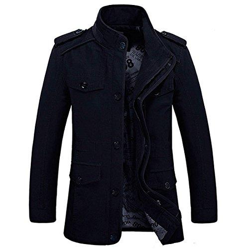 cremallera ajuste blazer; gabardina manga de Chaqueta con tipo ligera de y de hecha multibolsillos capucha militar ceñido algodón Negro larga Hdh P7wgq