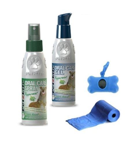 (2 Pack) 4 oz Petzlife Peppermint Gel and 4 oz Spray for Dog Pet Cat, Oral Dental Care, Tartar Remover + 20 Pet Dog Waste Poop Bags + Bone Dispenser Free