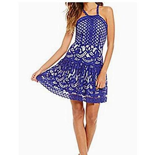Gianni Bini Mia Blue Lace Drop-Waist Halter Dress - Large ()