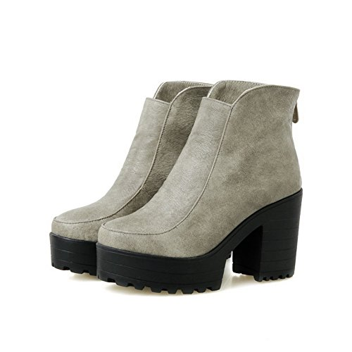 Zipper Toe Gray PU Closed Boots Round Heels AmoonyFashion High Women's Solid ngUwqAZ8aZ