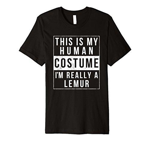 Lemur Costume Toddler (Mens Lemur Halloween Costume Shirt Easy Funny Kids Men Women 2XL Black)