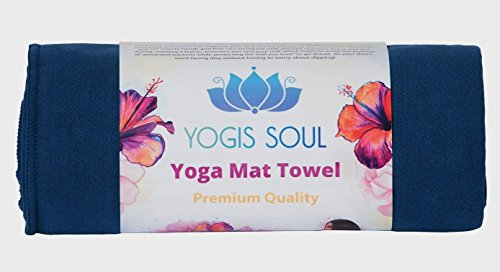 Yoga Mat Towel by Yogis Soul-Premium Soft Suede Microfiber-Provide Extra Grip and Non-Slip Once Dampened-Great Moisture Absorption for All Yoga Types include Bikram and Hot yoga (Blue)