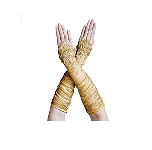 Fashionclubs Women Fingerless Lace Embroidered Bridal Satin Gloves (gold)