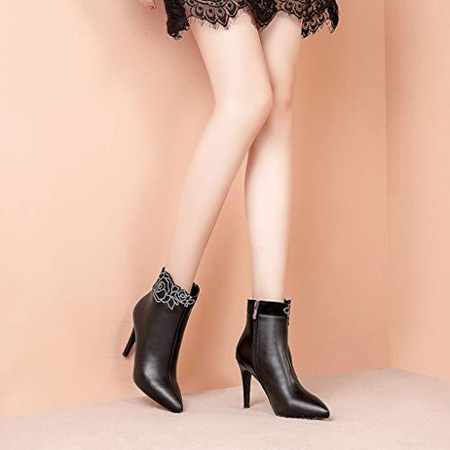 Zapatos Algodón Moda Alto Tacón De Mujer Negros Tacones Black Botas Invierno Altos Plus Para Puntas Velvet Sexy Negro Nuevas Cuero q88P7rWA0