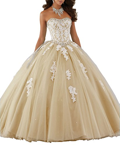 - Elley Womens's Lace Applique Princess Sweet 16 Homecoming Formal Strapless Quinceanera Dress Dark Champagne US10