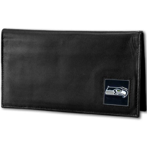 NFL Seattle Seahawks Deluxe Leather Checkbook Cover (Nfl Leather Deluxe)