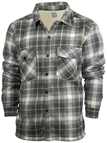 Oakwood Mountain Big and Tall Men's Plaid Shirt Jacket with Sherpa Fleece Lining | Button Up Front (Medium, Grey/White) (Front Jacket Fur Button)