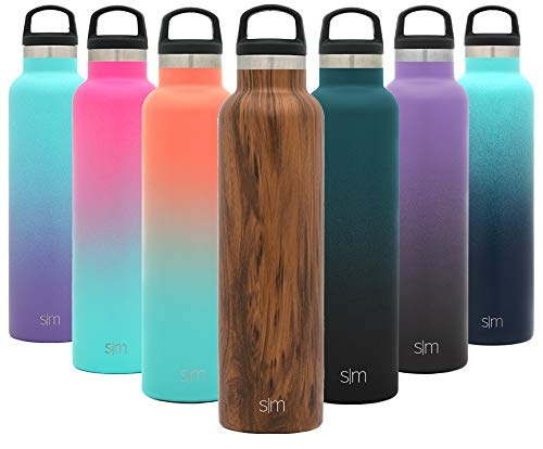 Simple Modern 24oz Ascent Water Bottle – Hydro Vacuum Insulated Tumbler Flask w/Handle Lid – Double Wall Stainless Steel Reusable – Leakproof Pattern: Wood Grain