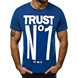aiNMkm Men's T-Shirts V-Neck,Fashion Men's Casual Slim Letter Printed Short Sleeve T Shirt Top Blouse,Blue,M