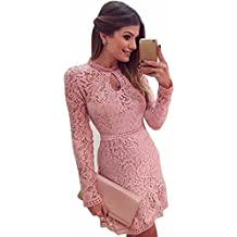 GBSELL Fashion Women Lady Sexy Pink Hollow Lace Long Sleeve Slim Dress Party Evening Dress
