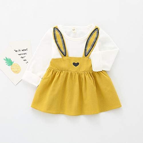 colore giallo d/à l/'illusione che sia formato da due pezzi Vestitino da neonata motivo stampa a forma di coniglietto gonna e bretelle