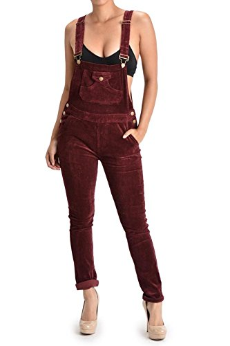 G-Style USA Women's Corduroy Overalls RJHO446 - Burgundy - 3X-Large - S1G